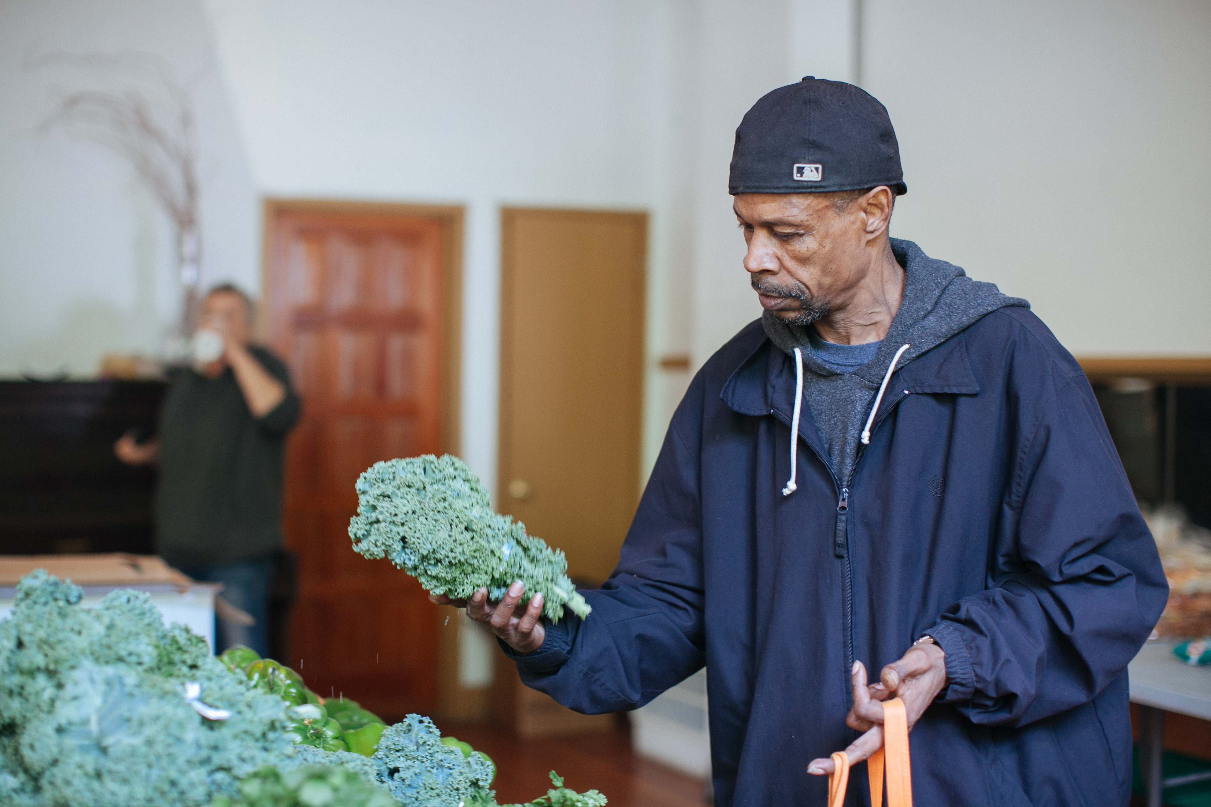 man with kale